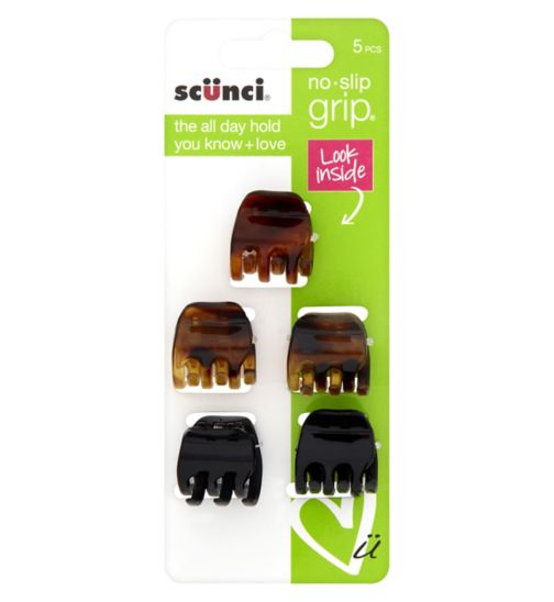 Scunci No Slip Grip Jaw Clips - 5 pack