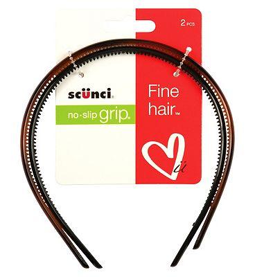 Scunci Thin Hair Head Bands Rubber Grip 2 pack