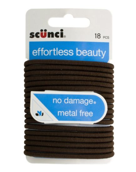Scunci Brown Elastics 18 pack