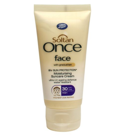 Soltan Once 8hr Sun Protection Moisturising Suncare Cream Face With Gradual Tan SPF30 50ml