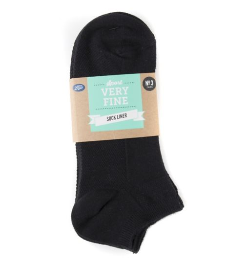 Boots Fine Sports Socks Black 3 Pair Pack