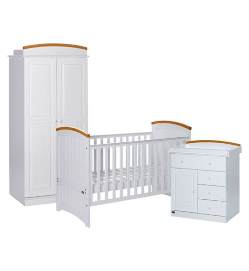 Tutti Bambini 3Piece Barcelona Nursery Furniture Set - Beech White Finish