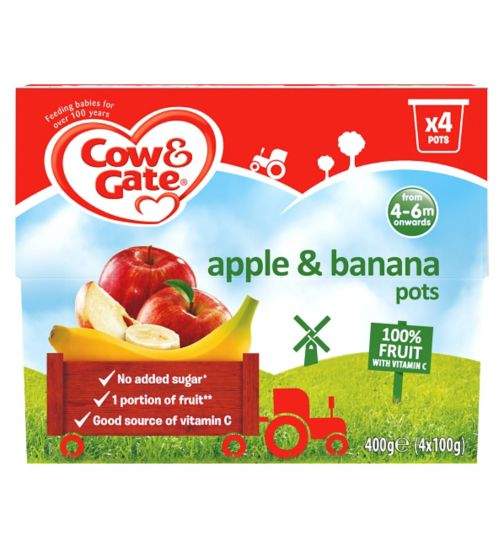 Cow & Gate Apple & Banana 100% Fruit with Vitamin C from 4-36 Months 4 x 100g