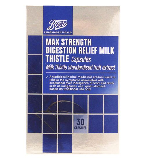 Boots Max Strength Digestion Relief Milk Thistle 30 Capsules