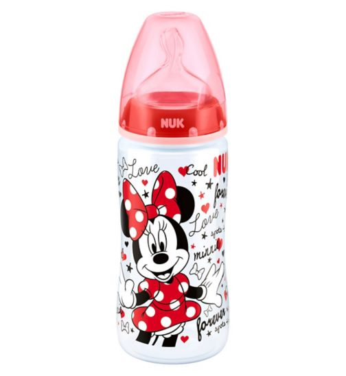 NUK First Choice+ Mickey Minnie 300ml Bottle Silicone Teat Medium Feeding Hole 6-18 Months