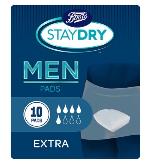 Boots Pharmaceuticals Staydry Men's Extra - 10 Pads