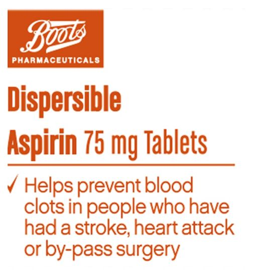 Boots Pharmaceuticals Aspirin 75mg Dispersible Tablets - 100 Tablets