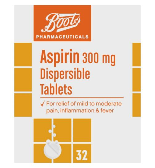 Boots Pharmaceuticals Aspirin 300mg Dispersible Tablets - 32 Tablets