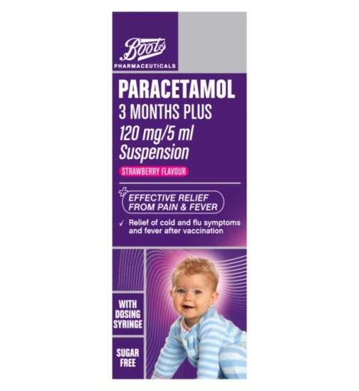 Boots Pharmaceuticals Paracetamol 3 Months Plus 120mg/5ml Suspension (100ml)