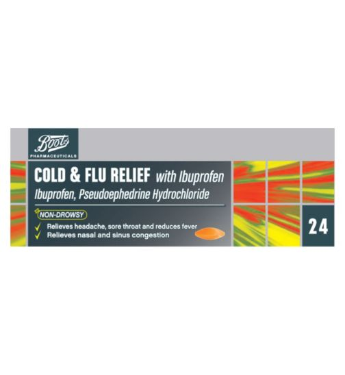 Boots Pharmaceuticals Cold & Flu Relief with Ibuprofen - 24 Tablets