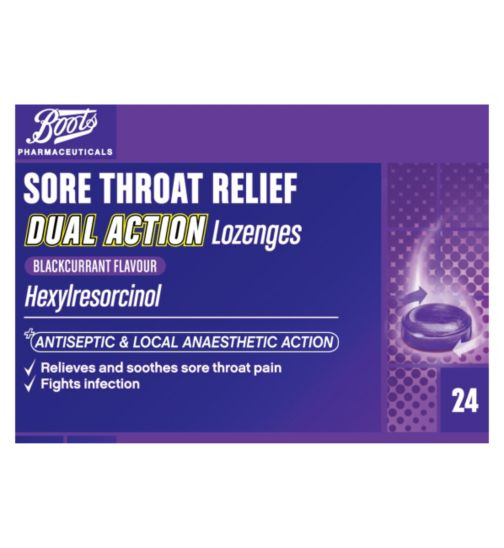 Boots Sore Throat Relief Dual Action Lozenges Blackcurrant - 24