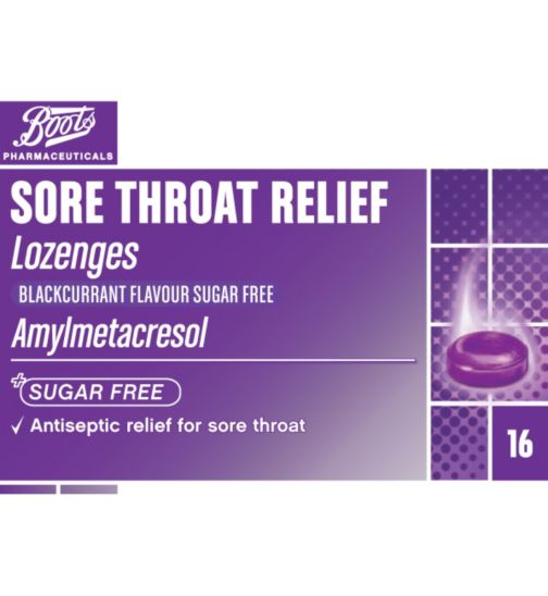 Boots Pharmaceuticals Sore Throat Relief Lozenges Blackcurrant  - 16 Pack