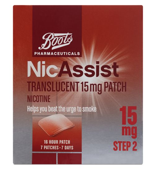 Boots Pharmaceuticals NicAssist Translucent 15mg Patch Step 2 (7 Patches)