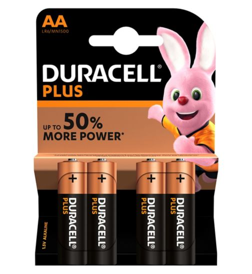 Duracell Plus Power AA Battery - 4 batteries