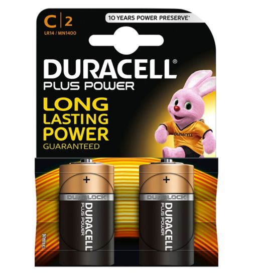 Duracell Power Plus C batteries 2 pack