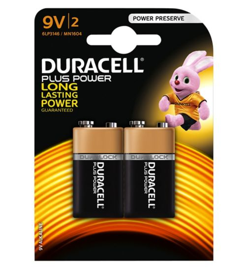 Duracell Plus Power 9V Battery x2