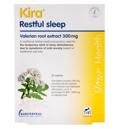 Kira Restful Sleep Valerian Root Extract 300 mg 25 Tablets