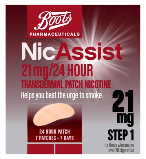 Boots NicAssist 21mg/24 Hour Transdermal Patch Nicotine Step 1 (7 Patches)