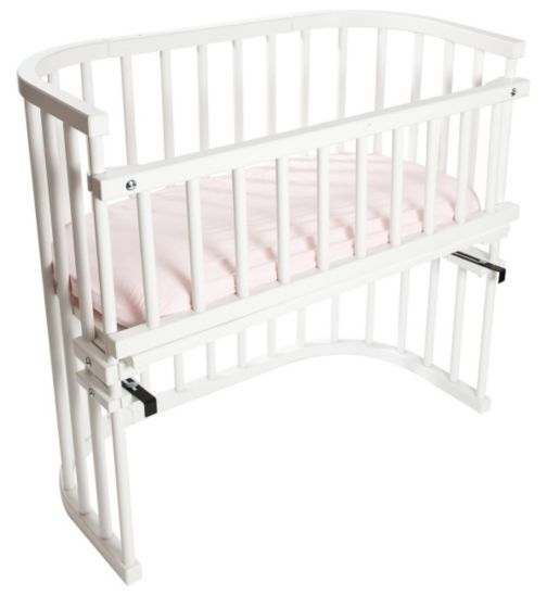 Babybay Bedside Cot with Baby Mattress & Side Rail - White