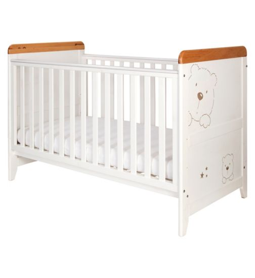 Tutti Bambini 3 Bears Cot Bed - White Finish with Beechwood Trim