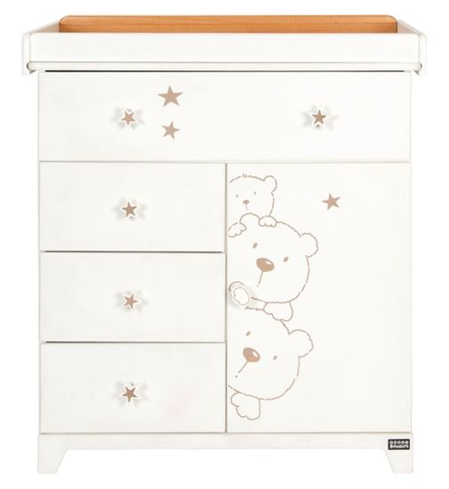 Tutti Bambini 3 Bears Chest Changer - White With Beechwood Top