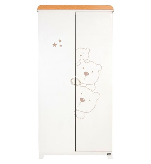 Tutti Bambini 3Bears Wardrobe - White Finish with Beechwood Trim