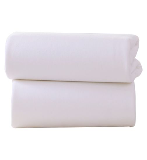 Clair De Lune Pram Flat Sheet White 2 Pack - 70 x 90cm