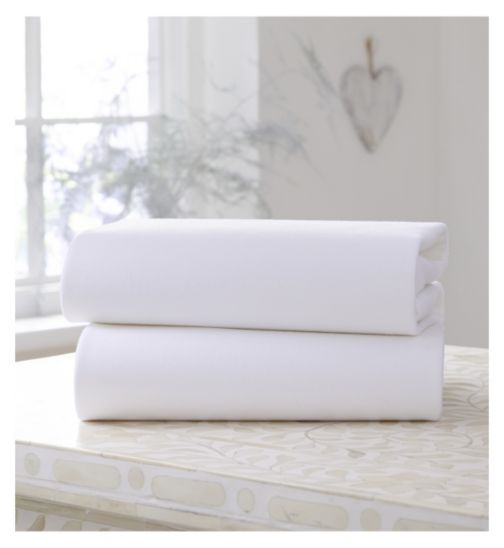 Clair De Lune Fitted Cot Sheets White 2Pack - 60 x 120cm