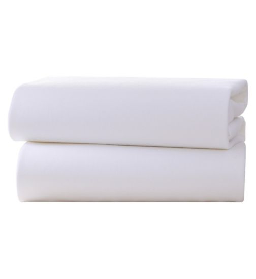 Clair de Lune Fitted Cot Bed Sheets White 2 Pack - 70 x 140cm