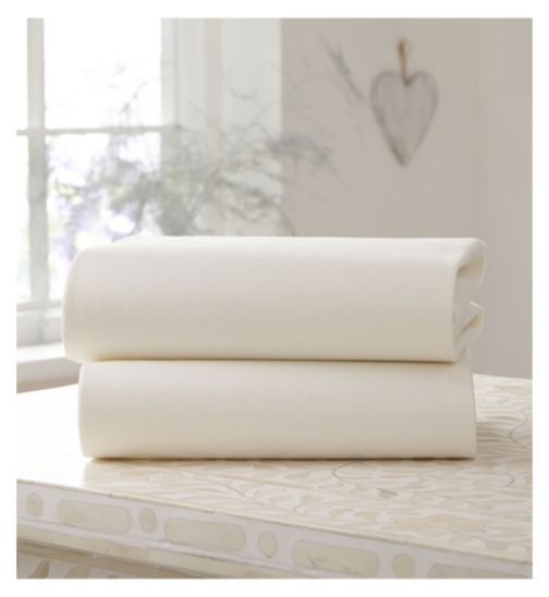 Clair de Lune Fitted Cot Sheets Cream 2 Pack - 60 x 120cm