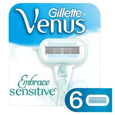 Gillette Venus Embrace Sensitive Women's 6 Razor Blade Refills