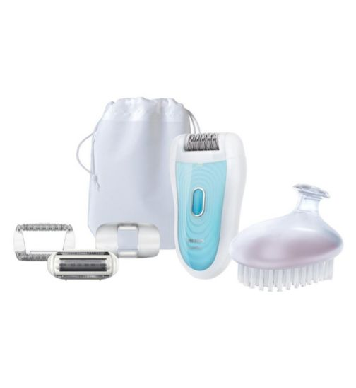 Philips SatinSoft HP6522/01 Wet & Dry Epilator with skincare system, shaving attachment and exfoliation brush