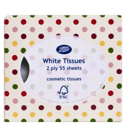 Boots White Cosmetic Tissues- 2ply 55 sheets