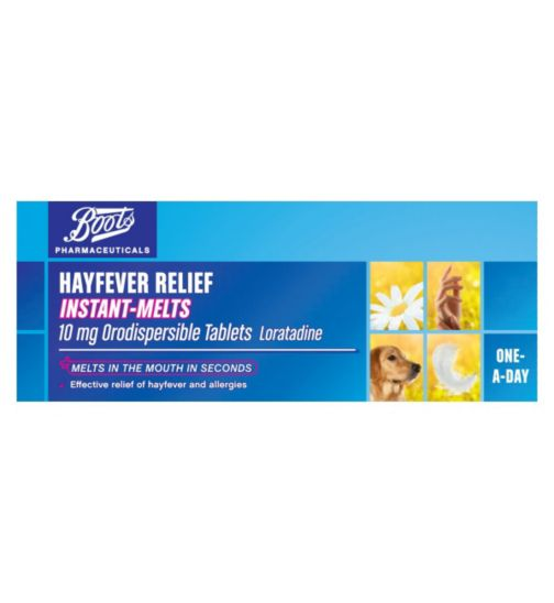 Boots Pharmaceuticals Hayfever Relief Instant-Melts 10mg Orodispersible Tablets Loratadine (14 day supply)