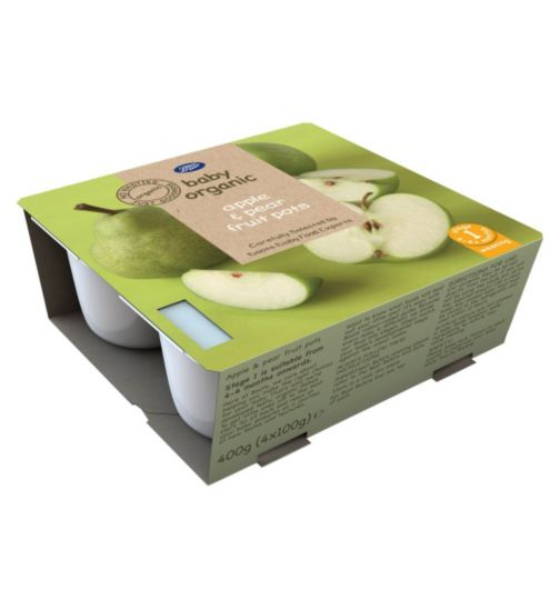 Boots Baby Organic Apple & Pear Fruit Pots Stage 1 4-6months+ 4x100g