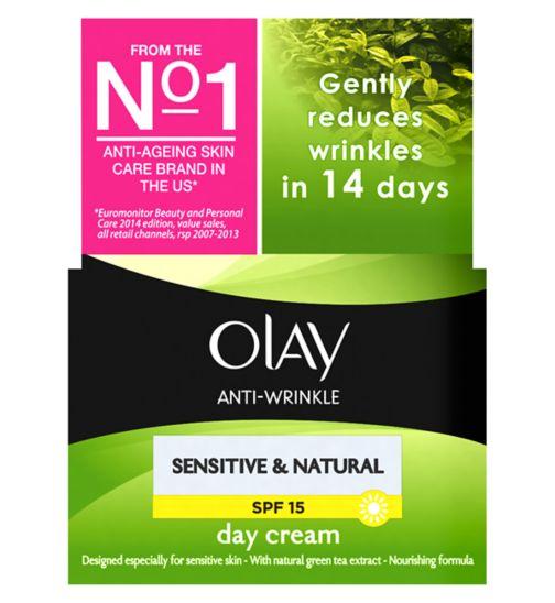 Olay Anti-Wrinkle Sensitive & Natural Gentle Moisturiser Day Cream SPF15 50ml