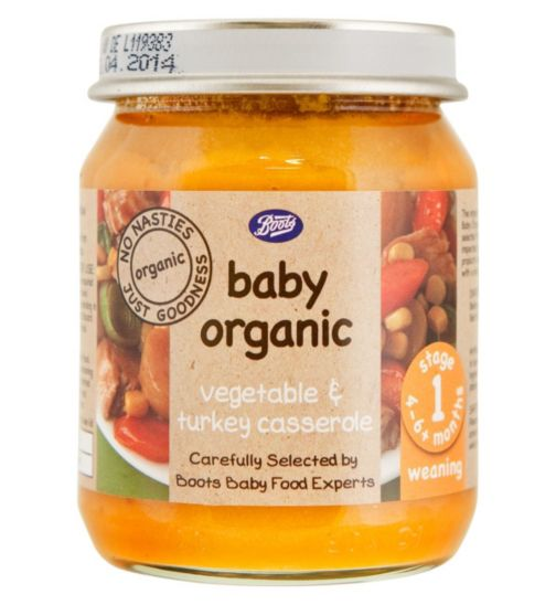 Boots Baby Organic Vegetable & Turkey Casserole Stage 1 4-6months+ 125g