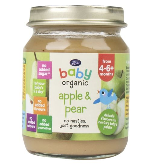 Boots Baby Organic Apple & Pear Stage 1 4-6months+ 125g