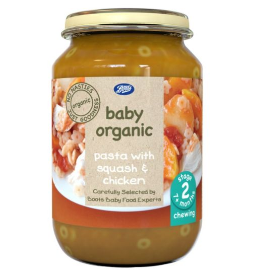 Boots Baby Organic Pasta with Squash & Chicken Stage 2 7months+ 190g