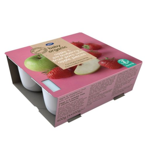 Boots Baby Organic Apple & Strawberry Fruit Pots with Apple Pieces Stage 2 7months+ 4x100g