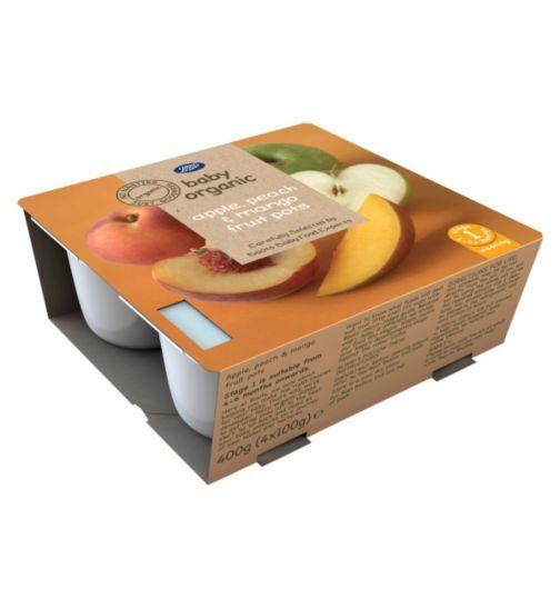 Boots Baby Organic Apple, Peach & Mango Fruit Pots Stage 1 4-6months+ 4x100g
