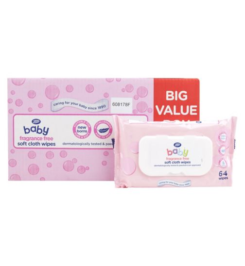 Boots Baby Soft Cloth Wipes 64 pack x 12 fragrance free