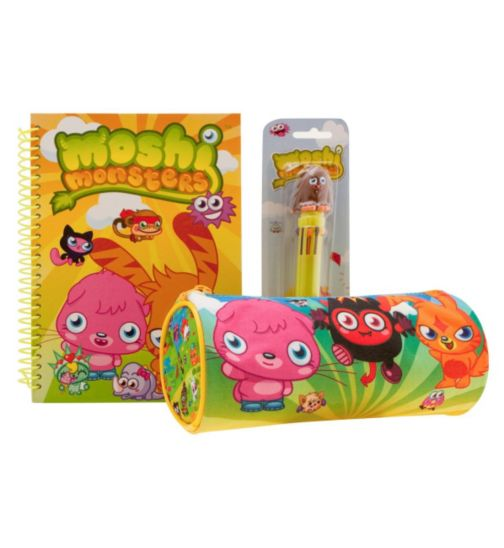 Moshi Monster Notebook, Pencil Case and 10 Colour Pen