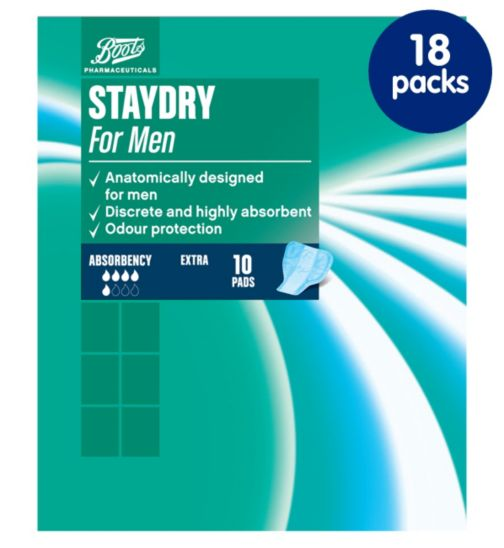 Staydry Mens Extra Pads - 18 packs of 10 Pads