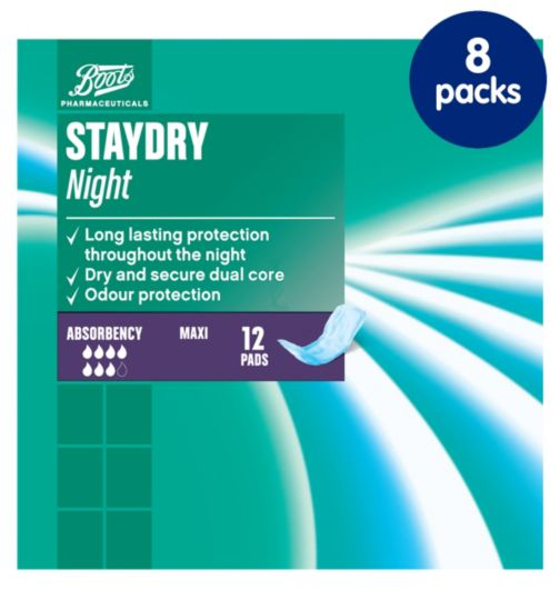 Staydry Maxi Night Pads - 8 packs of 12 Pads