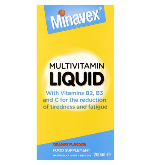 Minavex Multivitamin Liquid Orange Flavour Food Supplement 200ml