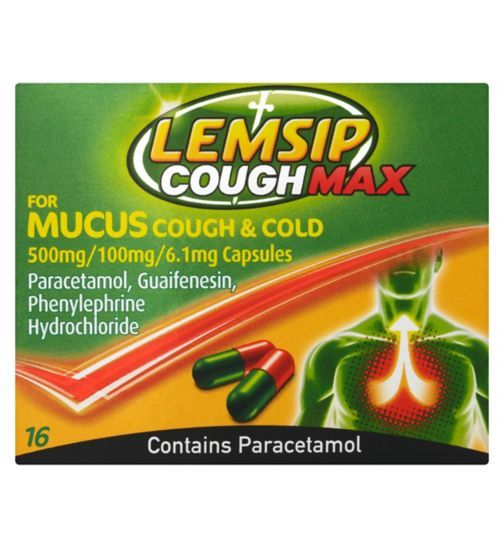 Lemsip Cough Max for Mucus Cough & Cold - 16 Capsules