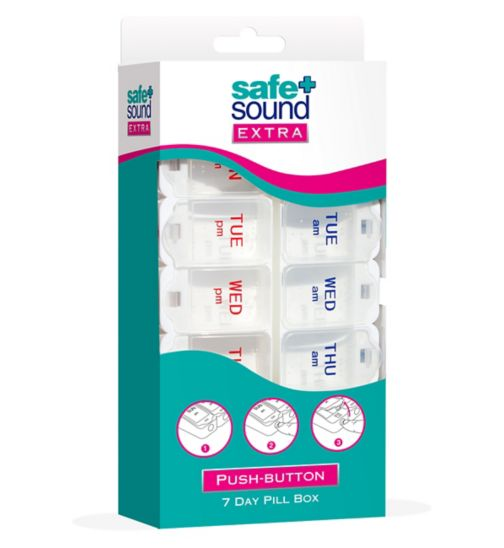 Safe & Sound extra push-button large 7 day pill box with braille