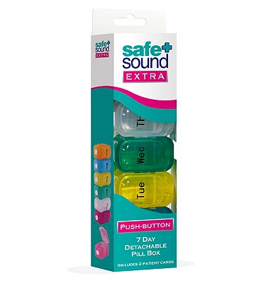 Safe & Sound extra push button 7 day detachable pill box