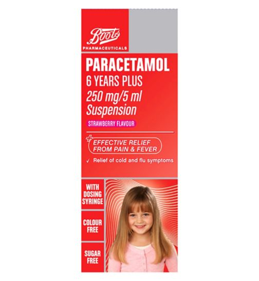 Boots Pharmaceuticals Paracetamol 6 Years Plus - 250mg/5 ml Suspension Strawberry
